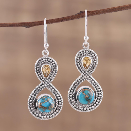 Indian Citrine and Composite Turquoise Dangle Earrings 'Dazzling Infinity'