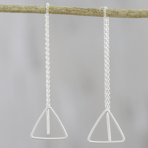Artisan Handmade Thai 925 Sterling Silver Threader Earrings 'Icy Home'