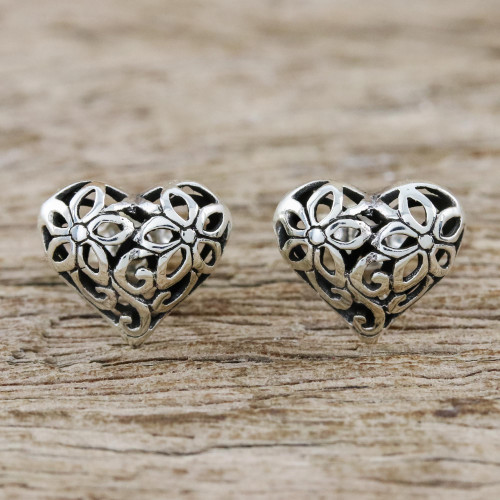 Floral Heart-Shaped Sterling Silver Earrings from Thailand 'Petaled Hearts'