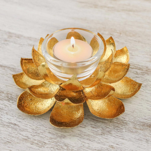 Lotus Shaped Steel Tealight Holder from Thailand 'Gleaming Lotus'