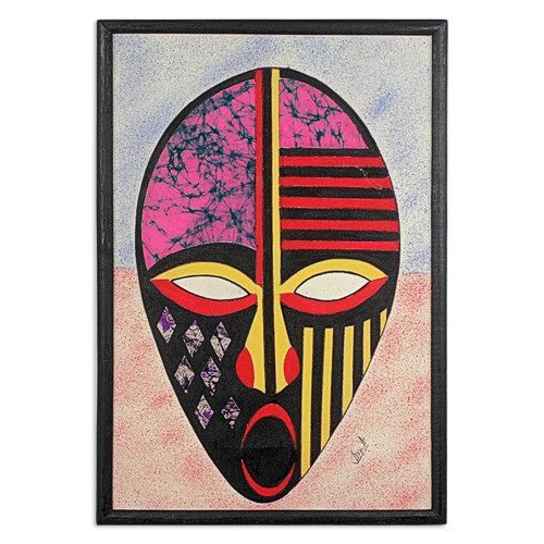 Oil on Cotton African Mask Batik Collage from Ghana 'To Be Alive'