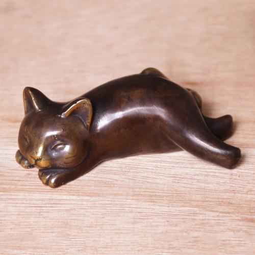 Handcrafted Balinese Bronze Sleeping Cat Statuette 'Let Sleeping Cats Lie'
