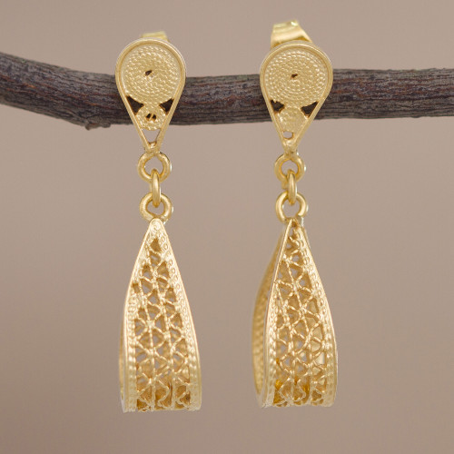 Gold Plated Sterling Silver Filigree Earrings from Peru 'Glistening Utopia'