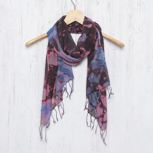 Tie-Dyed Multicolored Cotton Wrap Scarf from Thailand 'Artistic Colors'