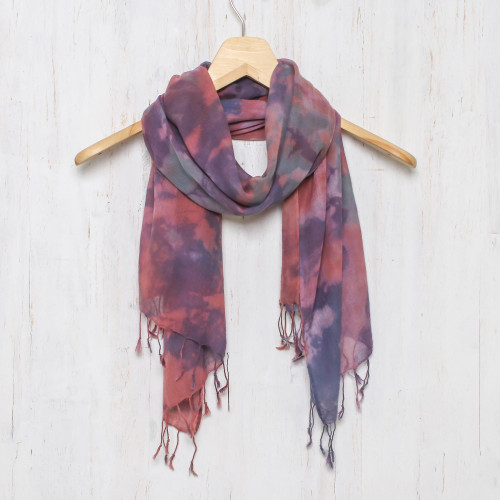Tied-Dyed Cotton Wrap Scarf in Pink and Purple from Thailand 'Fantastic Colors'