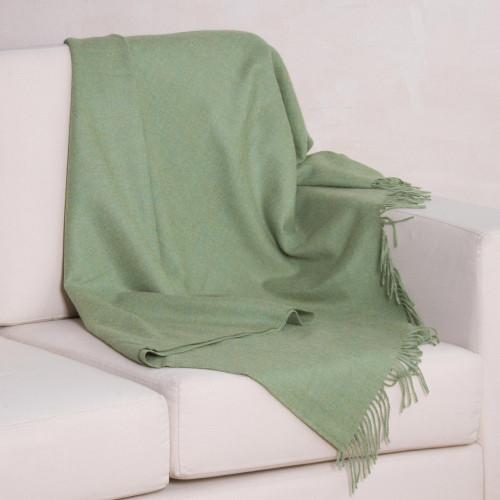 Avocado Green 100 Baby Alpaca Wool Fringed Throw Blanket 'Avocado Comfort'