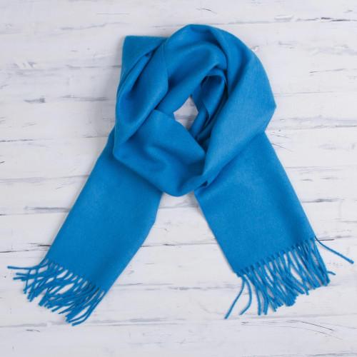 100 Baby Alpaca Azure Blue Scarf 'Azure Embrace'
