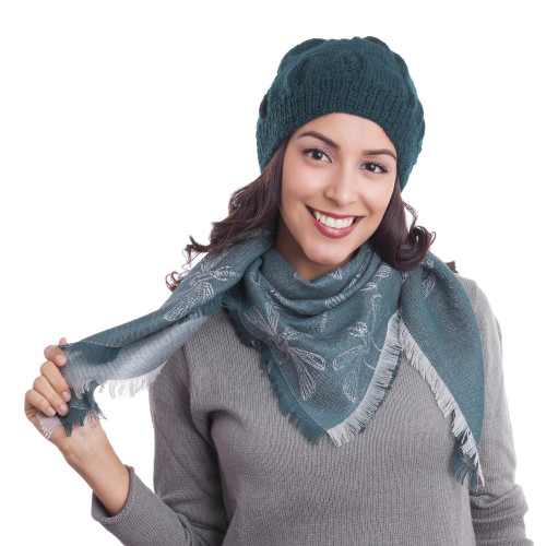 Baby Alpaca and Silk Blend Teal Dragonfly Reversible Scarf 'Dragonfly in Teal'