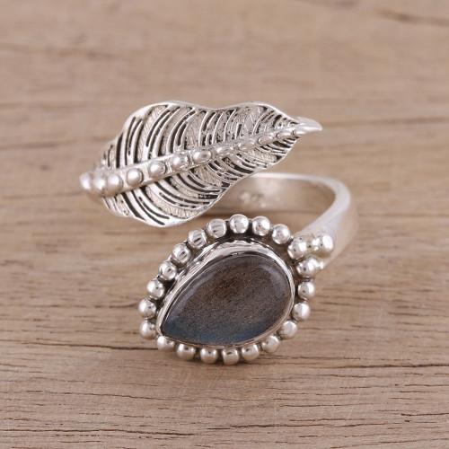 Handmade 925 Sterling Silver Labradorite Wrap Ring India 'Blissful Alliance'