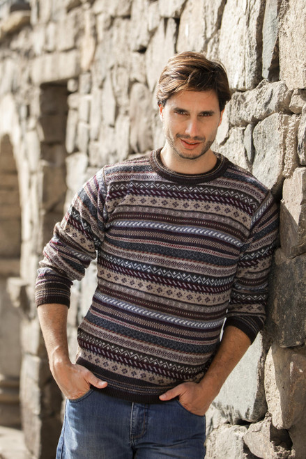 Men's Striped and Patterned 100 Alpaca Pullover Sweater 'Geology'