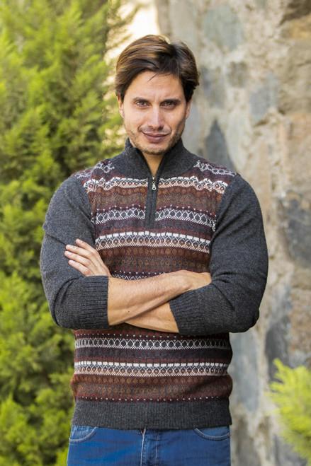 Men's Multi-Color Striped 100 Alpaca Pullover Sweater 'Archeology'