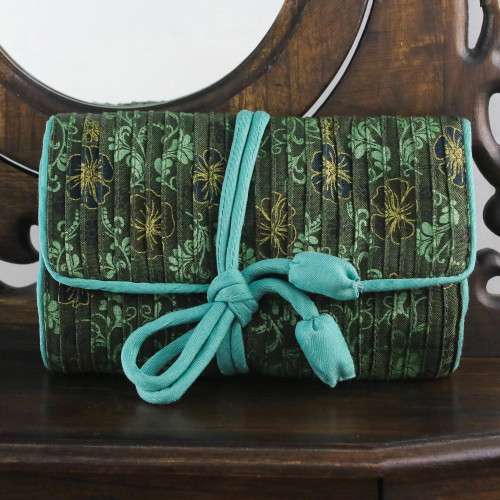 Rayon and Silk Blend Jewelry Roll in Green from Thailand 'Floral Fashionista'