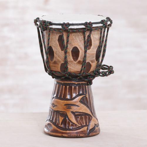 Dolphin-Themed Mahogany Mini Djembe Drum from Bali 'Dolphin Beat'