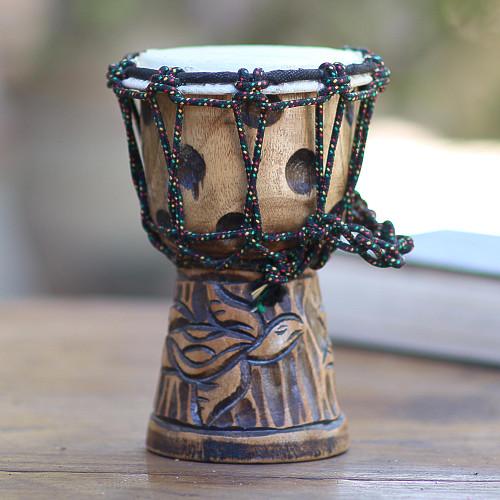 Turtle-Themed Mahogany Mini Djembe Drum from Bali 'Turtle Beat'