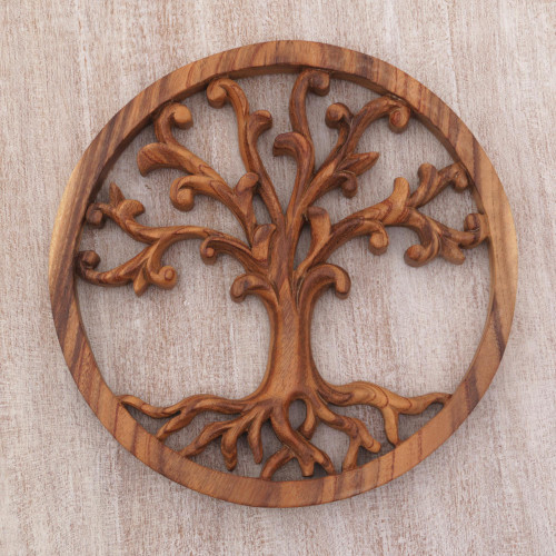 Balinese Hand Carved Suar Wood Tree Wall Relief Panel 'Rooted in Earth'