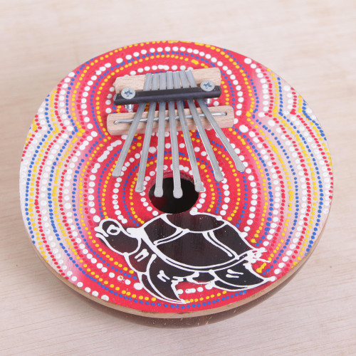 Handmade Coconut Shell and Wood Turtle Kalimba Thumb Piano 'Joyous Turtle'