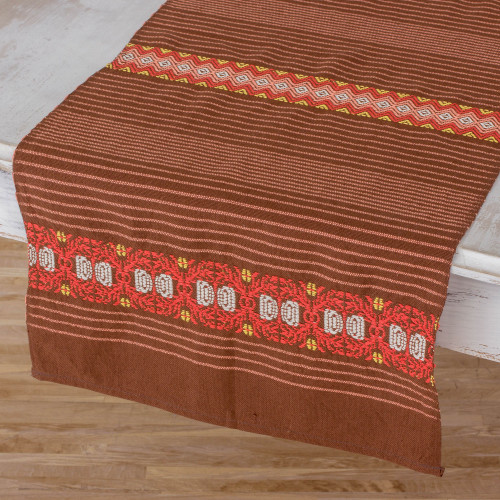 Striped Cotton Table Runner in Chestnut from Guatemala 'Striped Paths in Chestnut'