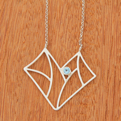 Blue Topaz 950 Silver Butterfly Pendant Necklace 'Abstract Butterfly'