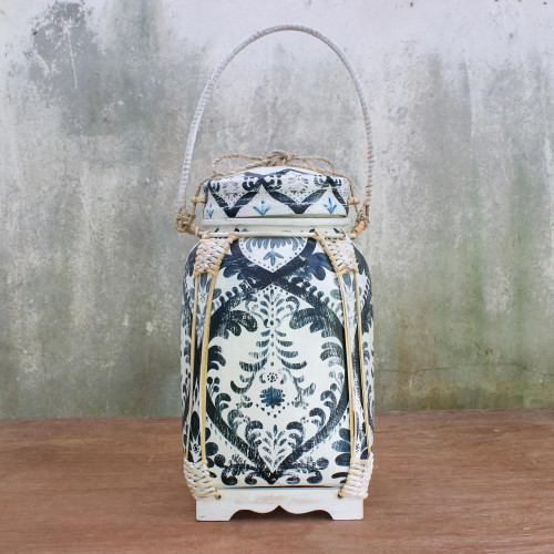 Traditional Thai Blue and White Decorative Jar 'Exotic Sky'