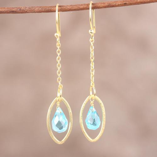 Handmade Blue Topaz 22k Gold Plated Sterling Silver Earrings 'Shining Eye'