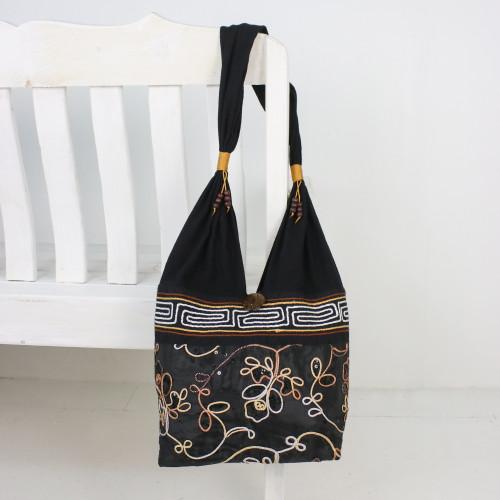 Floral Cotton Shoulder Bag from Thailand 'Floral Nighttime'