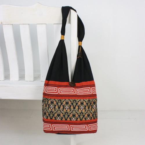 Floral Cotton Blend Shoulder Bag in Paprika from Thailand 'Charming Thai in Paprika'