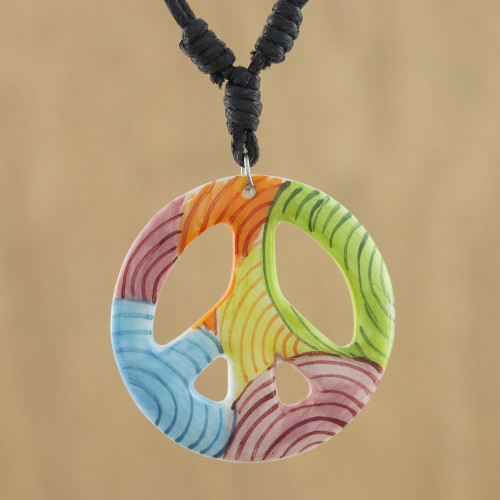 Thai Handcrafted Ceramic Peace Sign Pendant Necklace 'Colorful Peace'