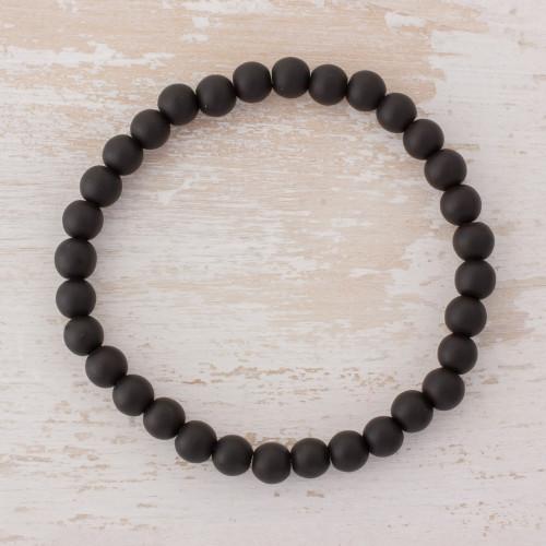 Black Onyx Beaded Stretch Bracelet from Guatemala 'Night Orbs'