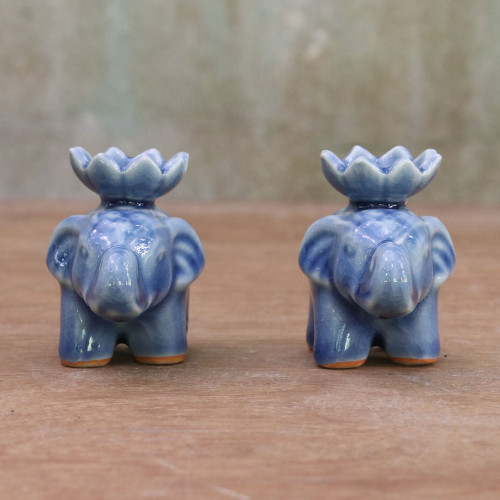 Blue Ceramic Elephant with Lotus Incense Holders Pair 'Lotus Elephant in Blue'