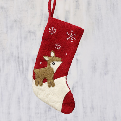 Handcrafted Reindeer-Themed Wool Stocking from India 'Snowy Eve'