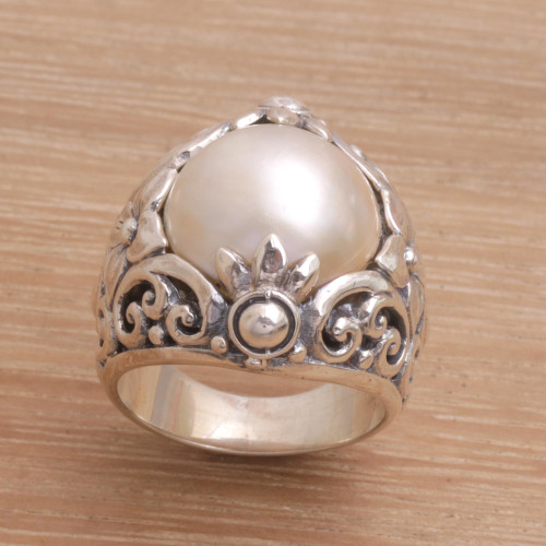 Cultured Mabe Pearl and Sterling Silver Lotus Cocktail Ring 'Lotus Moonlight'