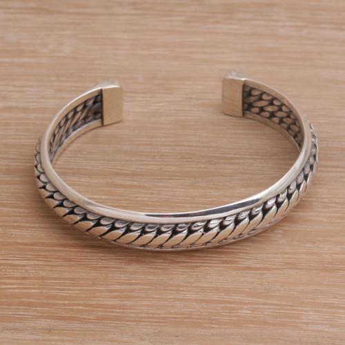 Sterling Silver Cuff Bracelet Handcrafted in Bali 'Eternity Bond'