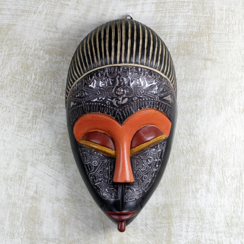 Hand Carved African Sese Wood and Aluminum Adom Ahoto Mask 'Adom Ahoto'
