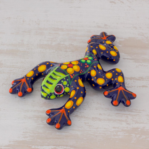 Multicolor Floral Motif Hand-Painted Ceramic Frog Figurine 'Nature's Friend'