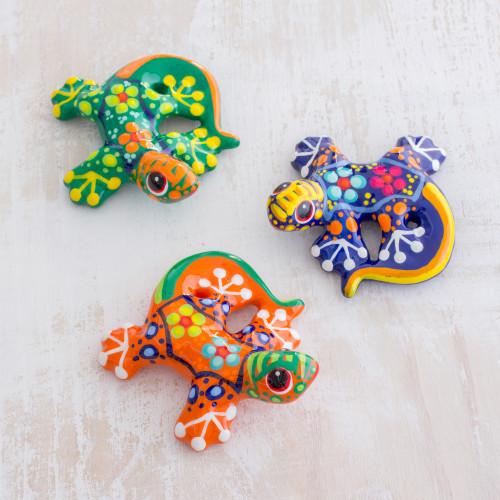 Colorful Handpainted Ceramic Salamander Figurines Set of 3 'Sweet Salamanders'