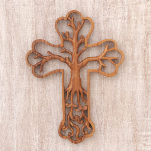 Cross and Tree-Themed Suar Wood Relief Panel from Bali 'Tree Cross'