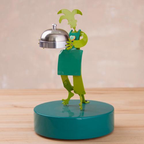 Aluminum Harlequin Sculpture in Green from Peru 'Harlequin Chef'