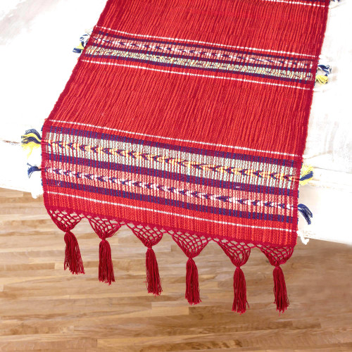 Handwoven Red Cotton Table Runner from Guatemala 'Highland Paths'
