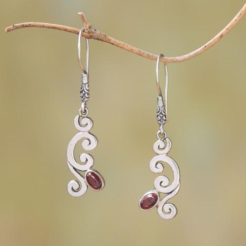 Curl Pattern Garnet Dangle Earrings from Bali 'Tropical Treasure'