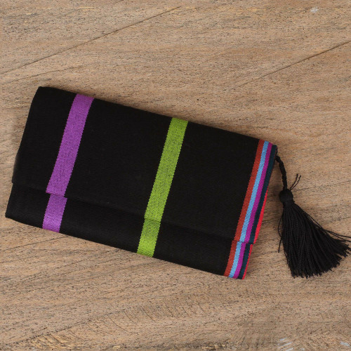 Handcrafted Black Cotton Wallet with Colorful Stripes 'Exhilarating'