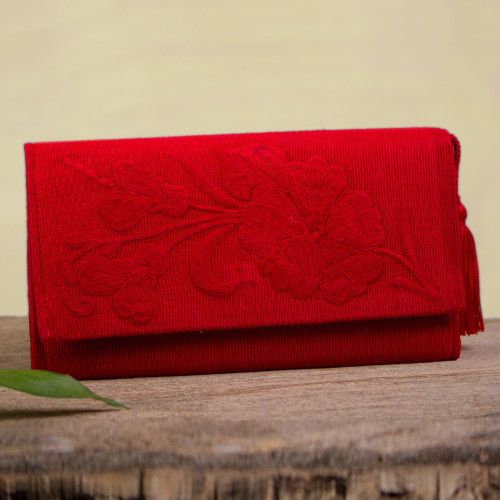 Handcrafted Red Embroidered Cotton Wallet with Tassel 'Cherry Sky Garden'