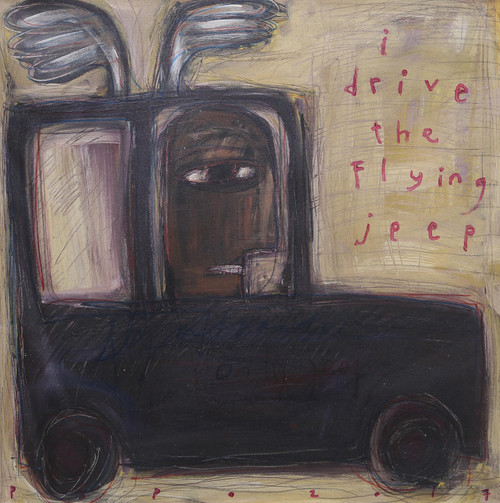 Signed Whimsical Modern Painting of a Jeep from Java 'I Drive the Flying Jeep'