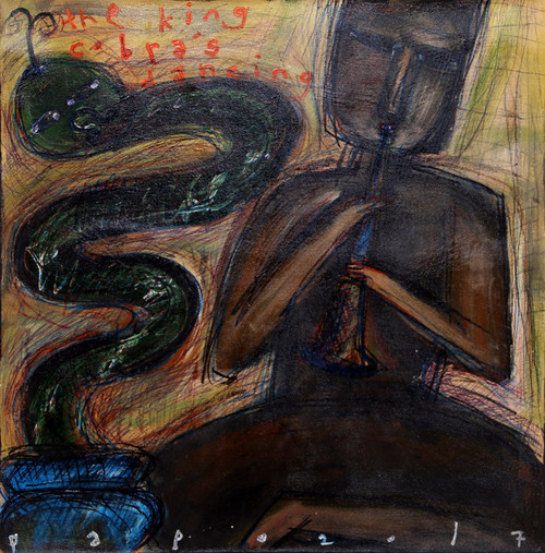 Signed Painting of a Snake Charmer from Java 'The King Cobra's Dancing'