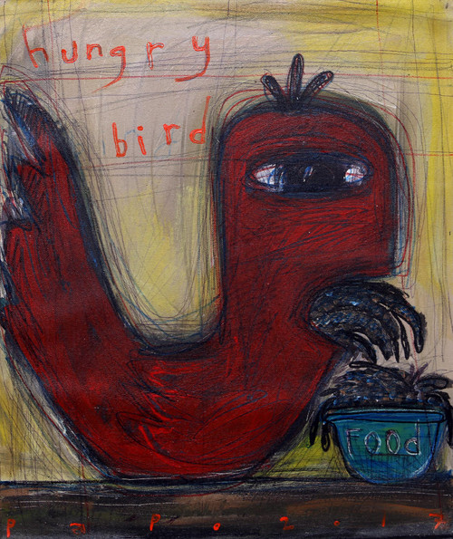 Signed Modern Painting of a Bird from Java 'Hungry Bird'