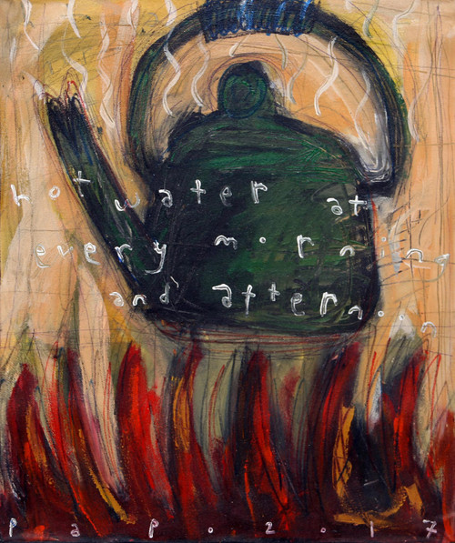 Signed Painting of a Boiling Kettle from Java 'Hot Water at Every Morning...'