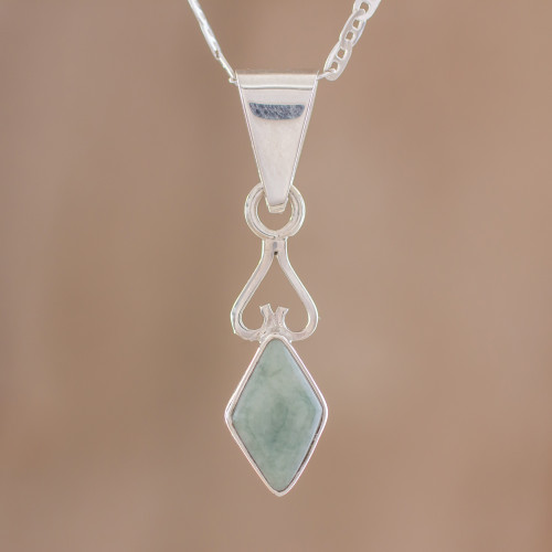 Diamond-Shaped Apple Green Jade Pendant Necklace Guatemala 'Marvelous Apple Green Diamond'