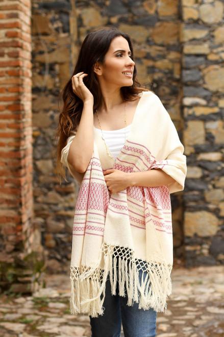 Off-White and Fuchsia Striped Handwoven Cotton Rebozo 'Morning Rose'