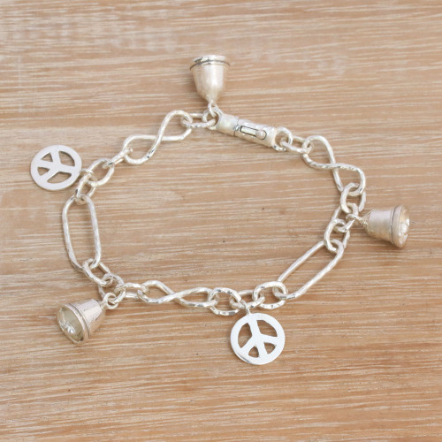 Sterling Silver Peace Symbol Charm Bracelet from Bali 'Peaceful Infinity'