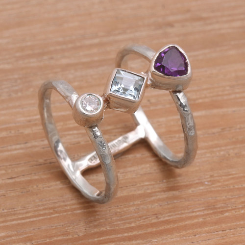 Bali Amethyst and Blue Topaz Multi-Stone Silver Ring 'Lolly'