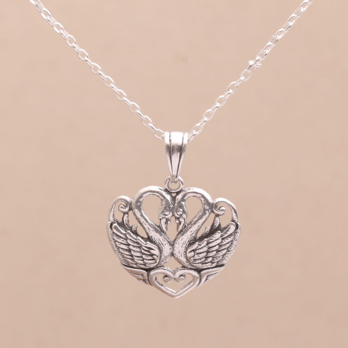Sterling Silver Swan Pendant Necklace from Bali 'Swan Love'